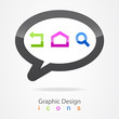 Graphic cloud icon set.