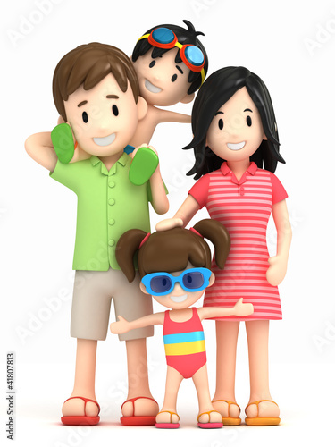 3d render of a family in swim wear