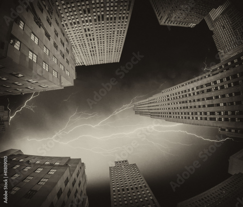 Upward view of Manhattan Office Buildings and Skyscrapers - 41809010