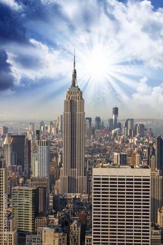 Manhattan Skyline with Empire State and Tall Skyscrapers - 41809051
