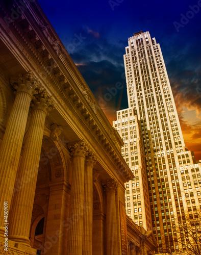 New York City Manhattan sunset skyline with office building skys - 41809091