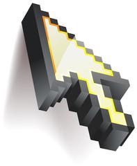 Pixelated 3D mouse cursor