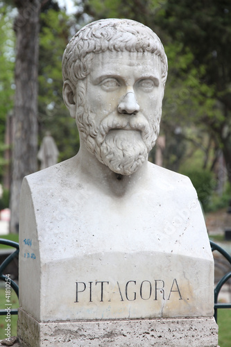Pythagoras bust sculpture in Villa Borghese, Rome