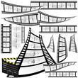 film strip and movie clipper vector