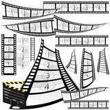 film strip and movie clipper vector
