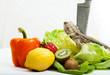 Bartagame mit Obst, Gemüse und Messer III