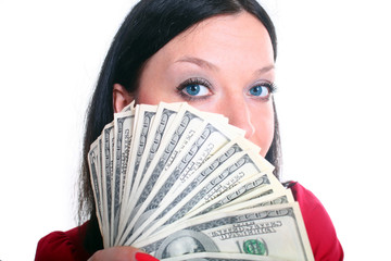 brunette girl with money