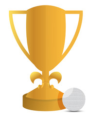 trophy and golf ball illustration design over white