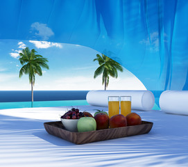 Luxury gazebo, lounge breakfast, pool suumer holiday
