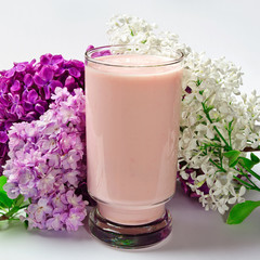 Glass yogurt and lilacs