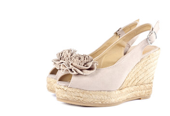 Pair of Beige Women's Suede Wedge Sandals