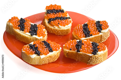 Red And Black Caviar Snacks As A St. George Ribbons