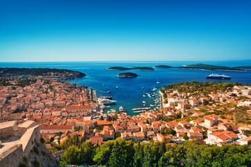 Harbor of old Adriatic island town Hvar. Croatia