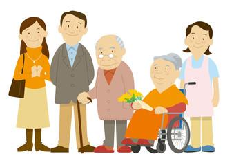 老人と家族