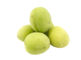 Group of fresh green plum on white background