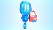 Blue robot with lock