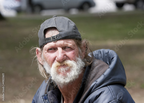Homeless man outdoors