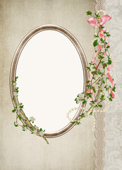 Oval Frame with bouquet