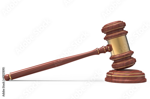wooden Judge gavel isolated on white background with clipping pa