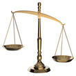 Gold scales of justice isolated on white background with clippin