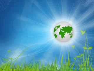 Blue background Eartplant, green Earth