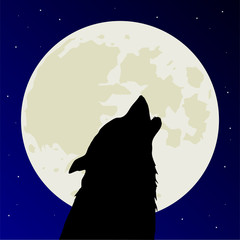 Werewolf or wolf howls on full Moon