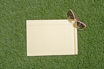 Blank Paper On Grass