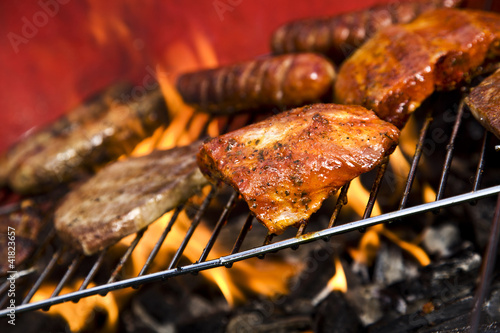 Seafood on grill - 41823657