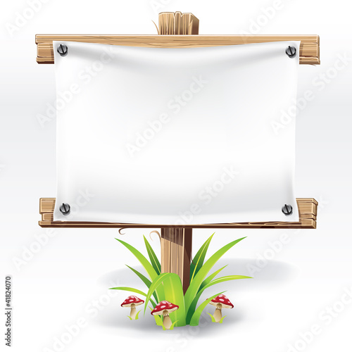 Wooden sign and paper on a grass with mushrooms. vector illustra