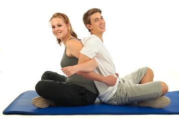 Gymnastik Frau und Mann 6.12