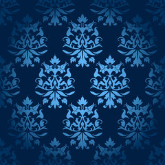 Seamless Flowers/Leafs Damask Pattern Dark Blue