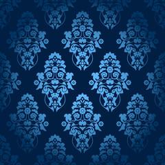 Seamless Pattern Flowers Dark Blue