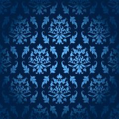 Dark Blue Seamless Flowers/Leafs Pattern