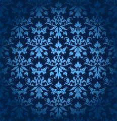 Dark Blue Seamless Flowers/Leafs Damask Pattern
