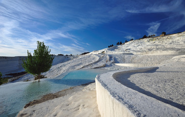 travetines at pamukkale , hierapolis , turkey