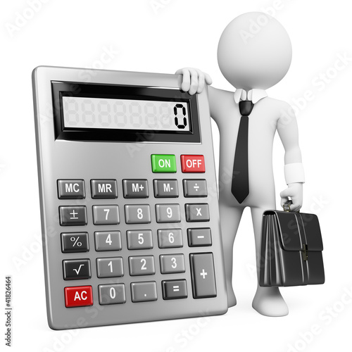 3d business white people. Businessman with calculator.