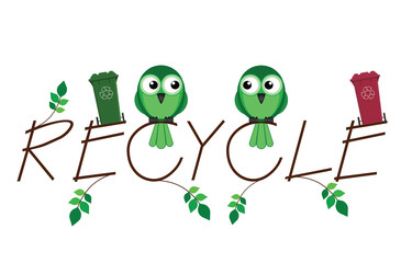 Recycle twig text and recycling wheelie bins