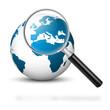 Welt, Erde, Business, Europa, Lupe, weltweit, Wirtschaft, Blau
