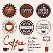 set of vintage labels and coffee items