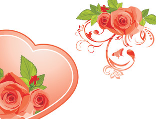 Decorative elements with roses to the Valentines day