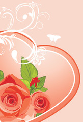 Heart with roses. Background to the Valentines day