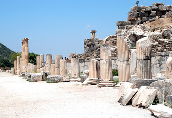 Pillars at Ephesus, Izmir, Turkey, Middle East