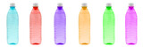 different color bottles in raw