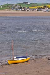 Yellow Boat on the Banks of the River Torridge, Devon UK