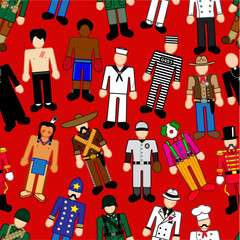 Classic Characters Seamless Pattern in red background