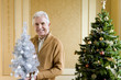 Senior man by Christmas tree with ornamental tree, smiling, portrait