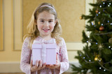 Girl (4-6) with gift box by Christmas tree, smiling, portrait