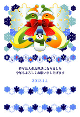 2013年巳年完成年賀状テンプレート(雪達磨とリボンマフラーカラフル)