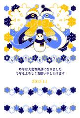 2013年巳年完成年賀状テンプレート(雪達磨とリボンマフラー3色)
