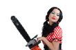 Portrait young girl in style pinup with electric saw on white